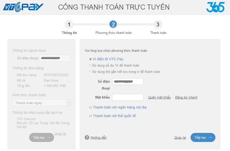 """Bước 2: Chọn """"Ví điện tử VTC Pay"""", thực hiện đăng nhập Ví điện tử VTC Pay  để tiếp tục thanh toán"""