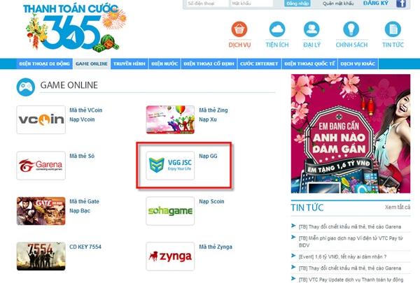 Bước 1: Đăng nhập vào Thanh Toán Cước 365 và chọn mục Dịch vụ/Game  online/Nạp GG