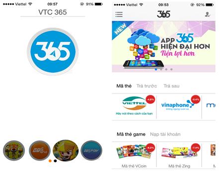 ... với phiên bản App VTC 365 bạn dễ dàng nạp tiền điện thoại Online cho  mình và thuê bao Viettel khác của người thân bất cứ nơi đâu, bất cứ lúc nào.