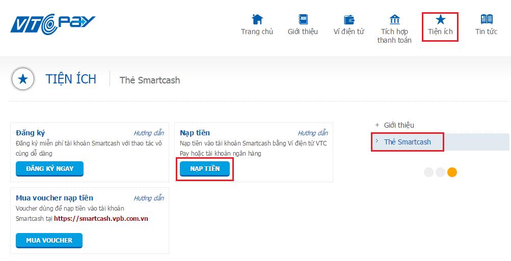 """Hoặc truy cập website https://365.vtcpay.vn , click vào Mục """"Dịch vụ"""" chọn  chức năng Thẻ Visa ảo Smartcash/ Nạp thẻ Visa Smartcash"""
