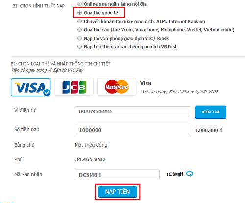 """Bước 2: Click """"Xác nhận"""" để xác nhận số tiền muốn nạp"""