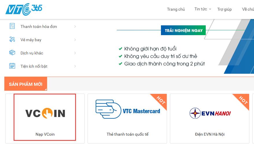 """Đăng nhập tại https://365.vtcpay.vn, vào mục """"Vcoin""""."""