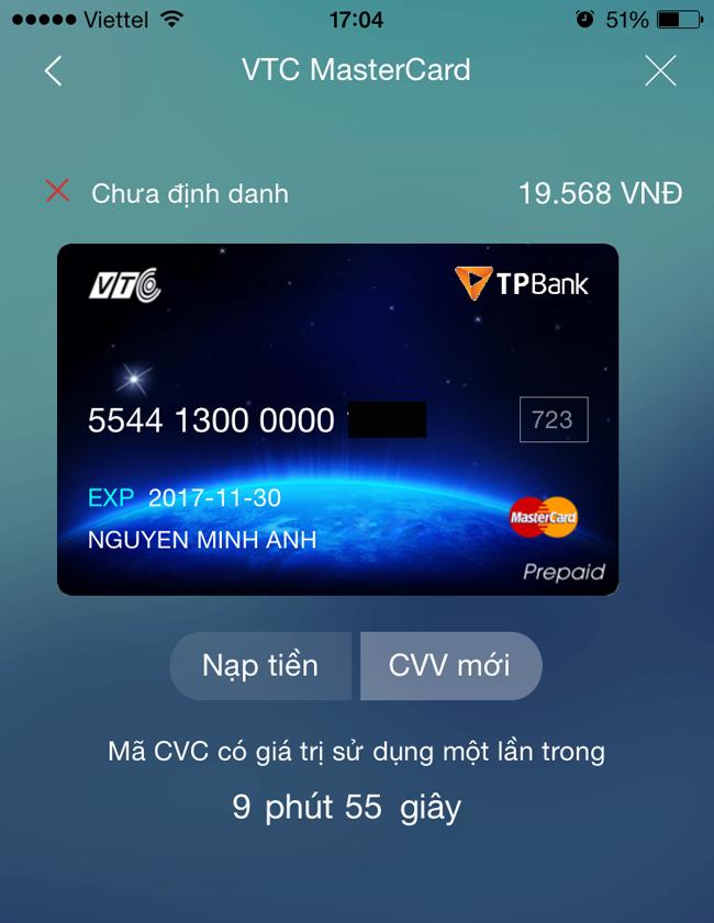 Hình ảnh hệ thống đếm ngược thời gian hiệu lực của mã CVC thẻ TPBank - VTC Mastercard trên điện thoại (hình minh họa)