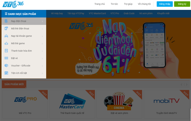 Bước 1: Truy cập website: https://365.vtcpay.vn chọn Danh mục sản phẩm/Nạp  điện thoại hoặc truy cập trực tiếp vào địa chỉ: ...