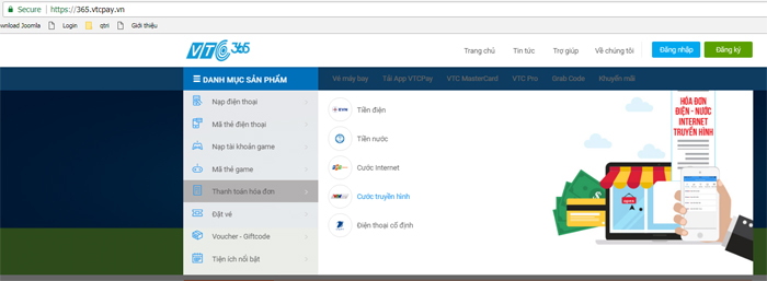 Bước 1: Bạn truy cập website https://365.vtcpay.vn chọn Danh mục sản phẩm  -> Thanh toán hóa đơn -> Cước truyền hình