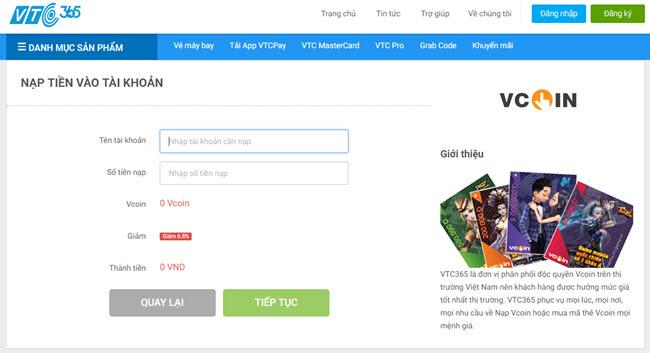 Ngoài ra, các game thủ cũng có thể Mua mã thẻ Vcoin online trên 365.vtcpay .vn