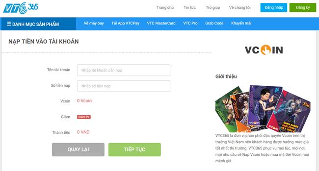 Mua mã thẻ Vcoin trên website VTC Pay