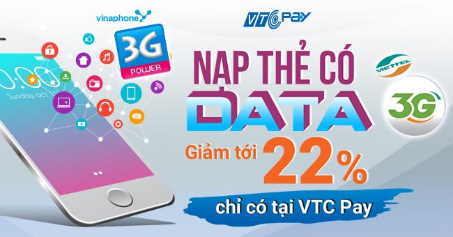 ... nhật bổ sung thêm 2 loại thẻ data 3G Viettel và Vinaphone. Như vậy, tại  VTC Pay bạn có thể tìm được đầy đủ thẻ Data 3G của cả 3 nhà mạng.