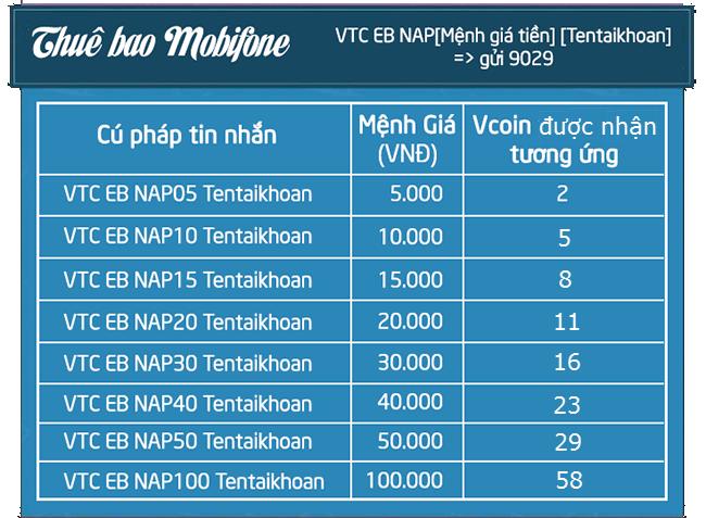 + Với nhà mạng Mobifone: