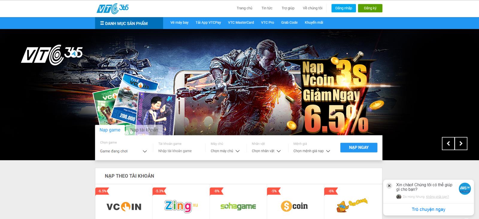 Truy cập https://365.vtcpay.vn/nap-game để nạp Vcoin trực tiếp vào tài  khoản với giá giảm 6,5%