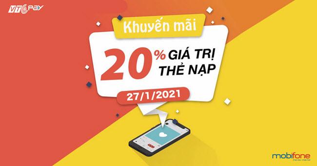 nạp tiền điện thoại Ví VTC Pay mobifone khuyến mãi 20%