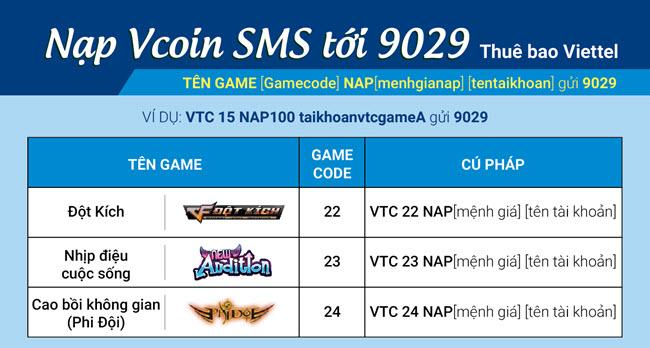 Ví dụ nạp 5.000 đồng thì cú pháp là VTC GAMECODE NAP5 TENTAIKHOAN gửi 9029