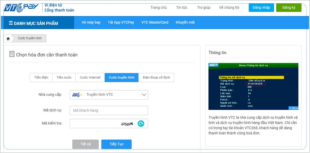 Hướng dẫn gia hạn truyền hình VTC qua ví điện tử VTC Pay