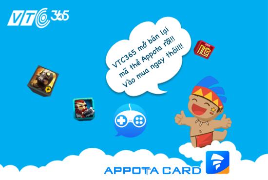 ... mở lại dịch vụ mua mã thẻ Appota trên website 365.vtcpay.vn và app  VTCPay với mức chiết khấu 5,5% và các mệnh giá đa dạng từ 50.000VNĐ đến  5.000.000VNĐ.