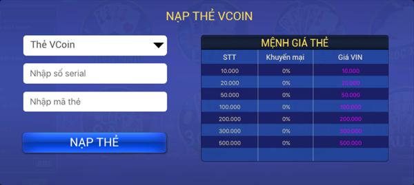 Bước 1: Truy cập 365.vtcpay.vn, chọn Danh mục sản phẩm/Mã thẻ game/Mã thẻ  Vcoin