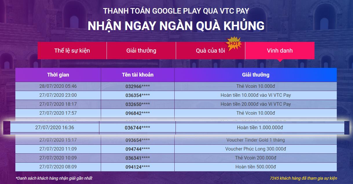khách hàng nhận hoàn tiền 1.000.000đ khi thanh toán google play với ví vtc pay