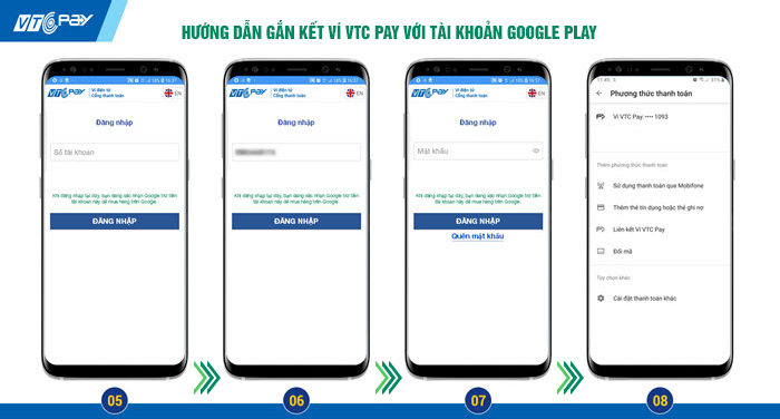 Hướng dẫn gắn kếtGoogle Play với Ví VTC Pay