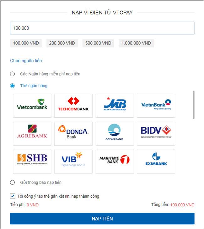Hướng dẫn nạp tiền Ví điện tử VTC Pay qua Ngân hàng nội địa