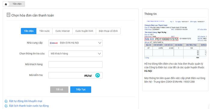Giao diện thanh toán tiền điện trên website https://365.vtcpay.vn
