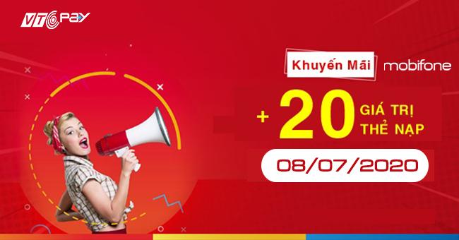 nạp tiền điện thoại Ví VTC Pay mobifone khuyến mãi 8-7-2020