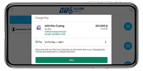 Hướng dẫn nạp game trên Google Play với Ví VTC Pay