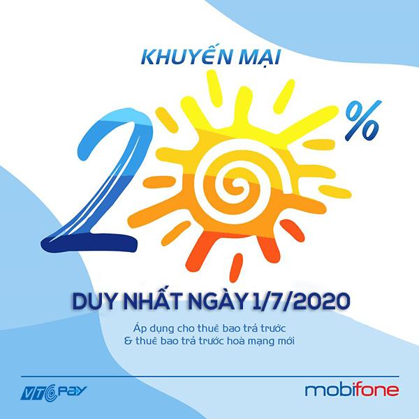 nạp tiền điện thoại Ví VTC Pay mobifone khuyến mãi 1-7-2020