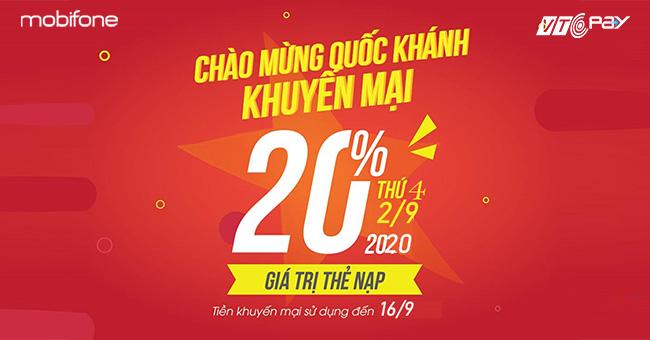 nạp tiền điện thoại Ví VTC Pay mobifone khuyến mãi 2-9-2020