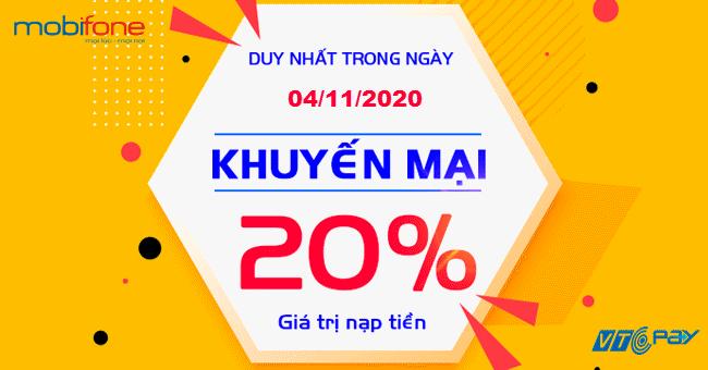 nạp tiền điện thoại Ví VTC Pay mobifone khuyến mãi 04-11-2020