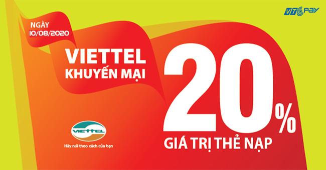 Nạp tiền điện thoại viettel khuyến mãi 20% tại Ví VTC Pay