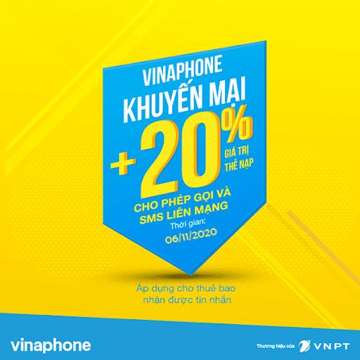 Vinaphone khuyến mãi 20% giá trị thẻ nạp ngày 06/11/2020