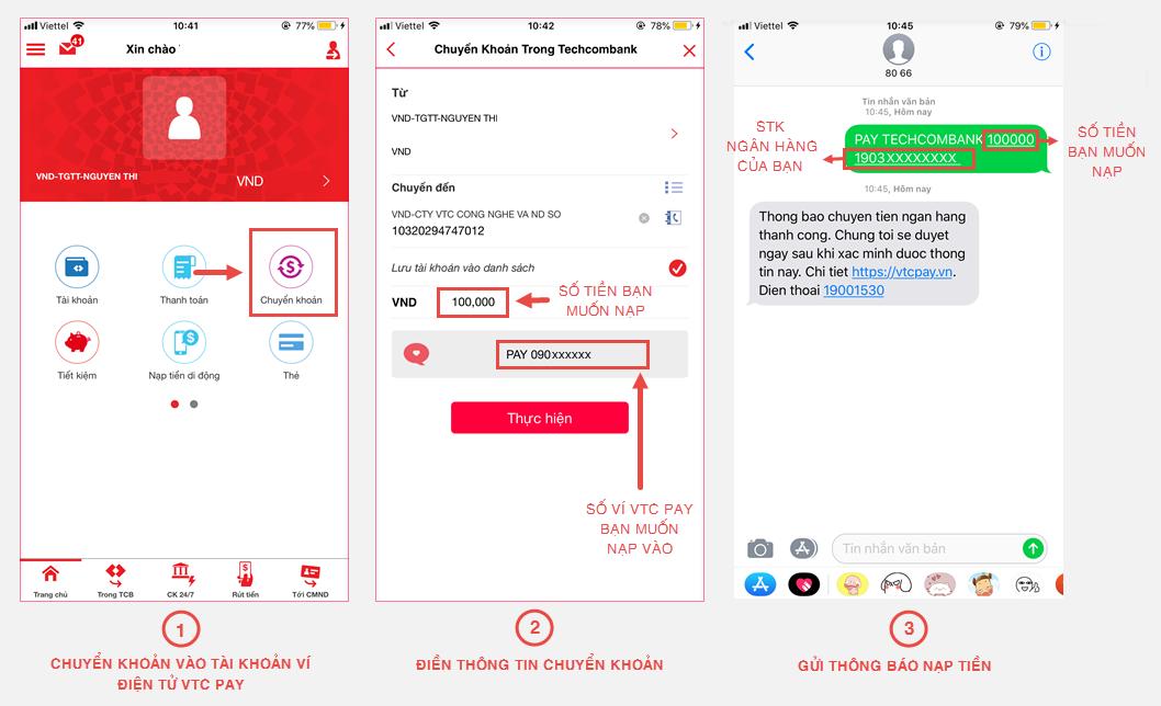 Bước 1 + 2: Đăng nhập tài khoản F@st i-bank trên ứng dụng F@st Mobile của  Techcombank trên di động, thực hiện chuyển tiền sang tài khoản ngân hàng  của VTC ...