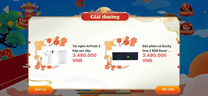Giải thưởng sự kiện Táo Quân Tranh Tài Ví VTC Pay 3