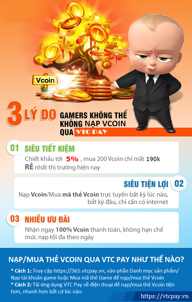 Vậy còn chần chừ gì nữa mà bạn không thử trải nghiệm ngay cách thức nạp  Vcoin từ Ví điện tử VTC Pay để rủng rỉnh Vcoin, thỏa thích chơi các game ...