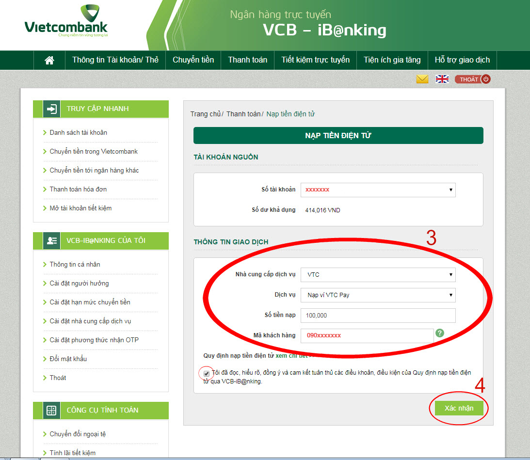 Trong đó Mã khách hàng là số ví VTC Pay được nhận tiền chuyển, có thể là số  của bạn hoặc số của người thân bạn bè.