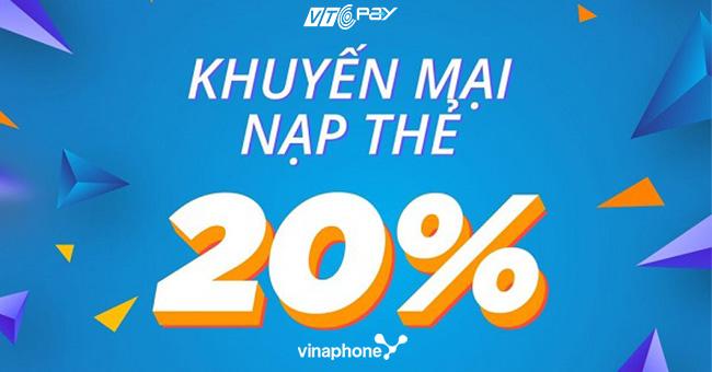 Vinaphone khuyến mãi 20% giá trị thẻ nạp ngày 18/9/2020