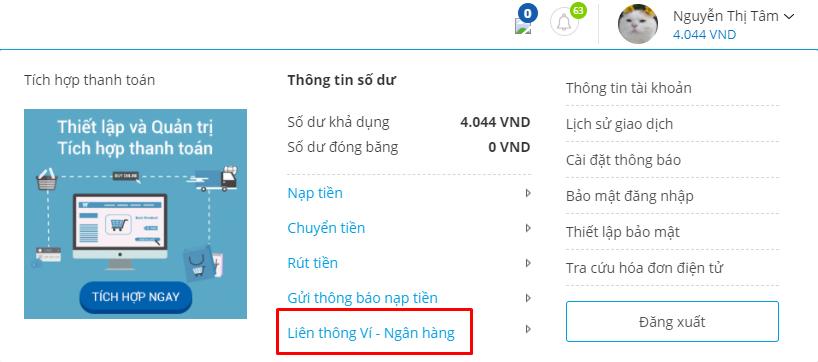 liên kết ví VTC Pay với HDBank