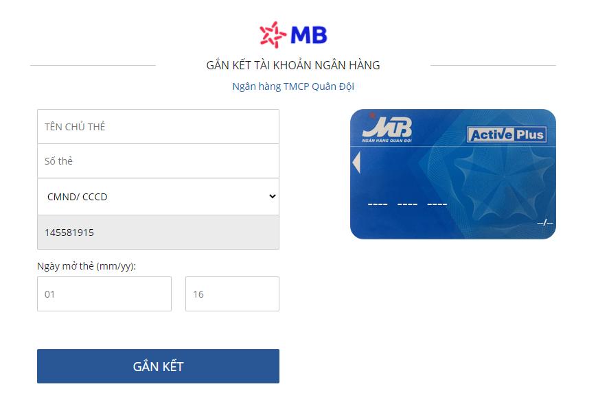 liên kết ví VTC Pây với ngân hàng MBBank