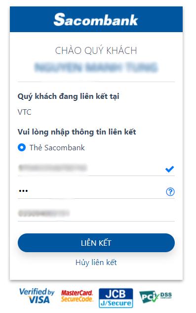 liên kết ví VTc Pay với ngân hàng Sacombank