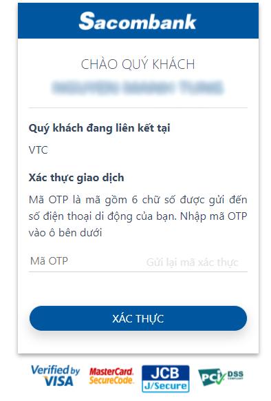 liên kết ví VTC Pay với sacombank