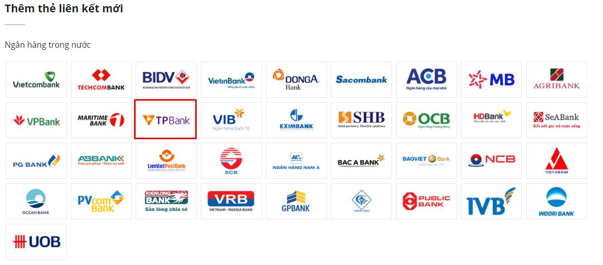 Liên kết ví VTC Pay với TP Bank