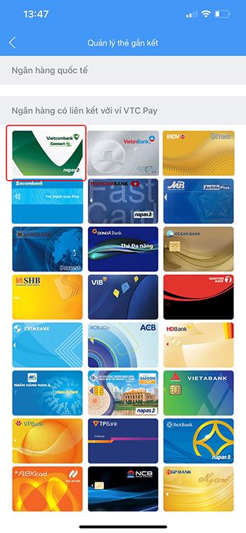 liên kết ví VTC Pay với ngân hàng Vietcobank