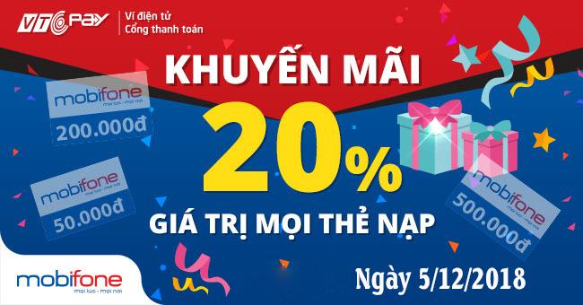 MOBIFONE KHUYẾN MẠI 24,5% TẠI VTC PAY
